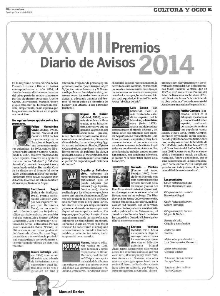 1938 XXXVIII Premios Diario de Avisos 2014